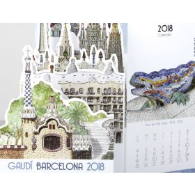 Gaudí drop-down calendar 2018. Big size
