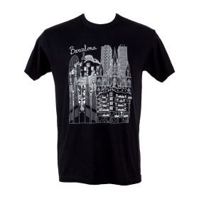 Man T-shirt Barcelona Skyline