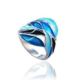 """Hojas Azules"" silver ring"