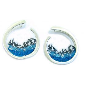 """Luna"" big silver earrings"