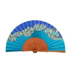 Silk fan with colourful print