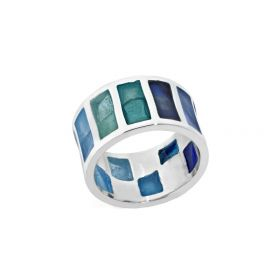 Blue crystals silver ring